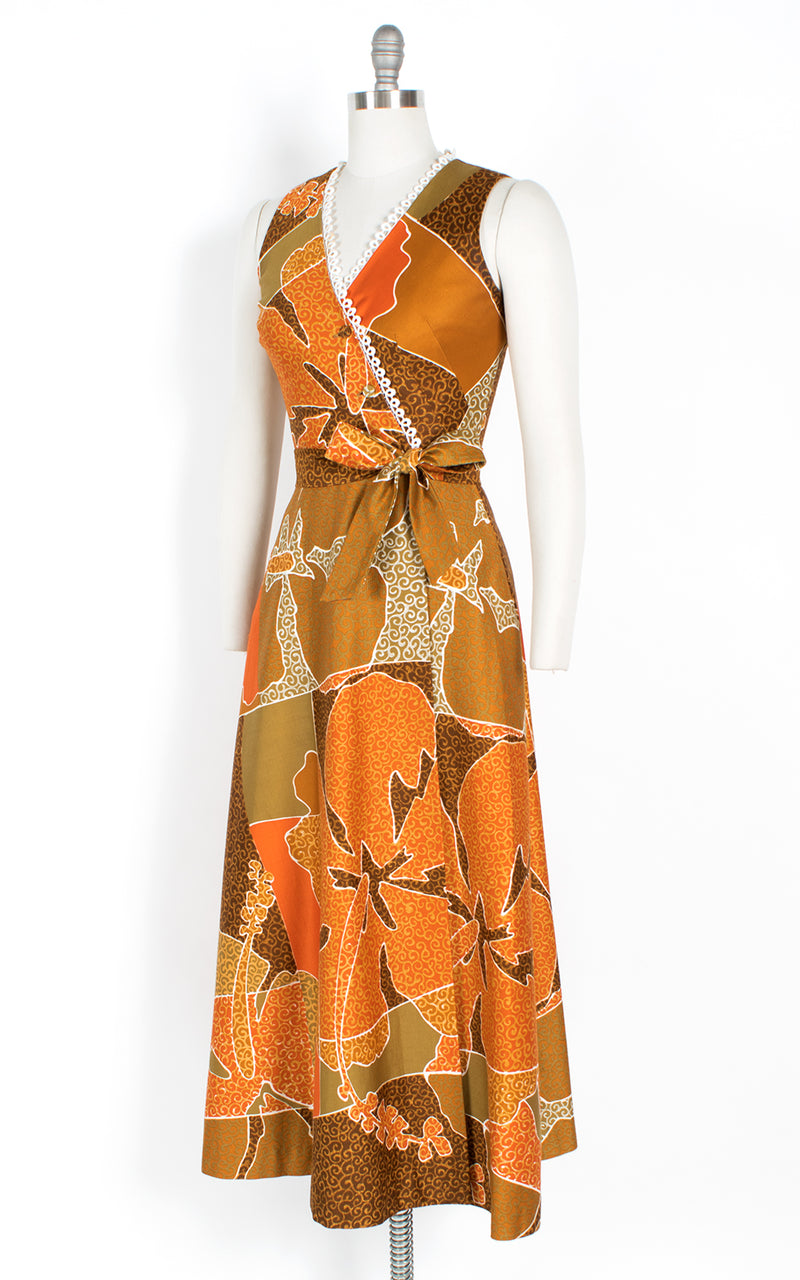 1960s Hawaiian Floral Cotton Maxi Wrap Dress