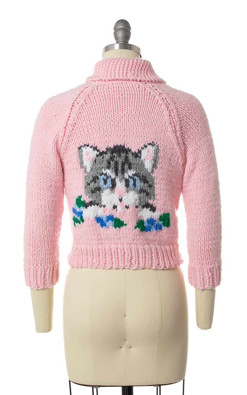 1950s Cat Novelty Knit Cowichan Cardigan