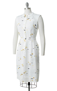 1950s Fish Novelty Print Linen Dress