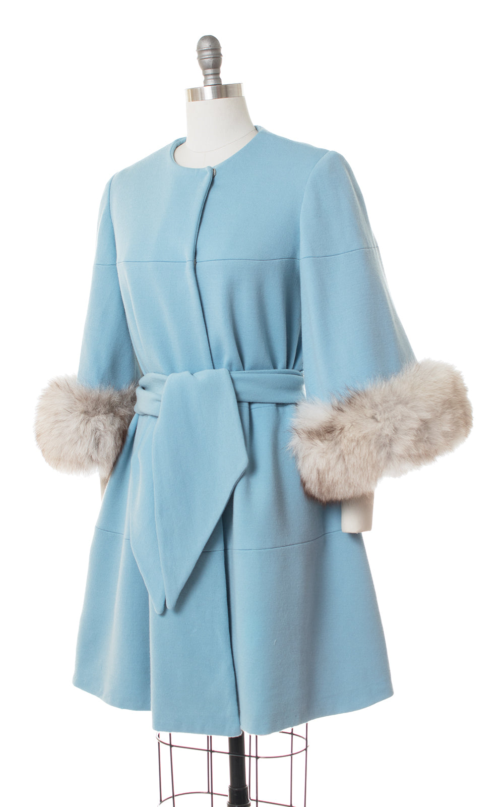 1960s Lilli Ann Fox Fur & Wool Cape Coat | medium/large
