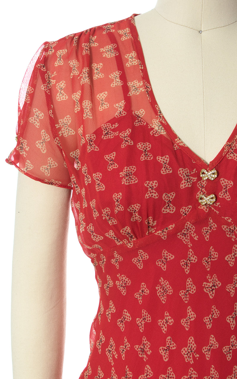 1990s Laundry by Shelli Segal Red Bow Novelty Print Silk Chiffon Dress