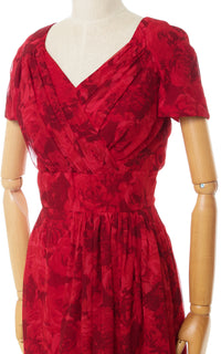 1950s Marjorie Michael Red Rose Silk Chiffon Cocktail Dress