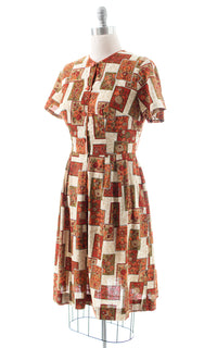 1960s Floral Geometric Cotton Shirtwaist Dress