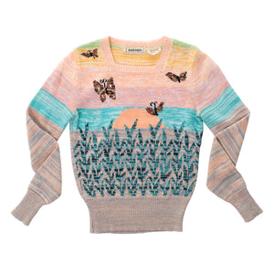 1970s Butterflies at Sunset Novelty Knit Sweater | x-small/small