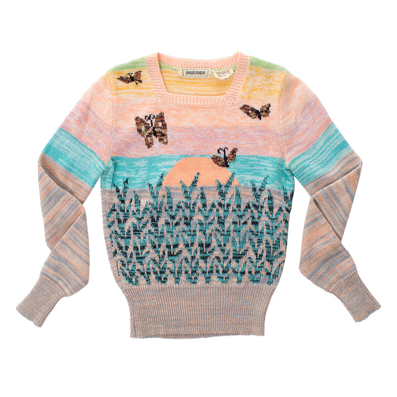 ♦️ SOLD ♦️ 1970s Butterflies at Sunset Novelty Knit Sweater | x-small/small