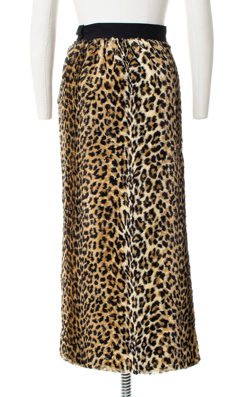 1960s Leopard Print Faux Fur Skirt with Slit