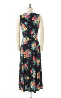1990s Floral Rayon Crepe Button Down Midi Dress