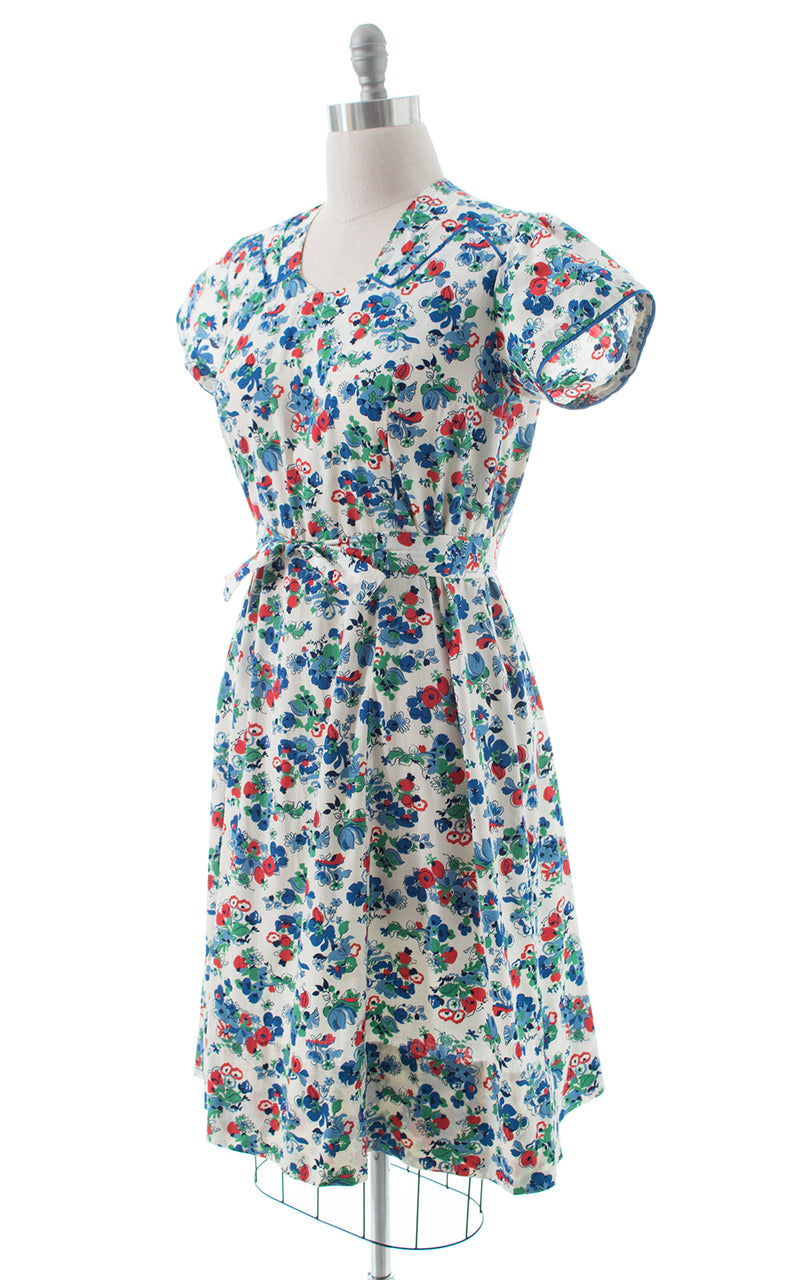 1940s White Floral Cotton Day Dress