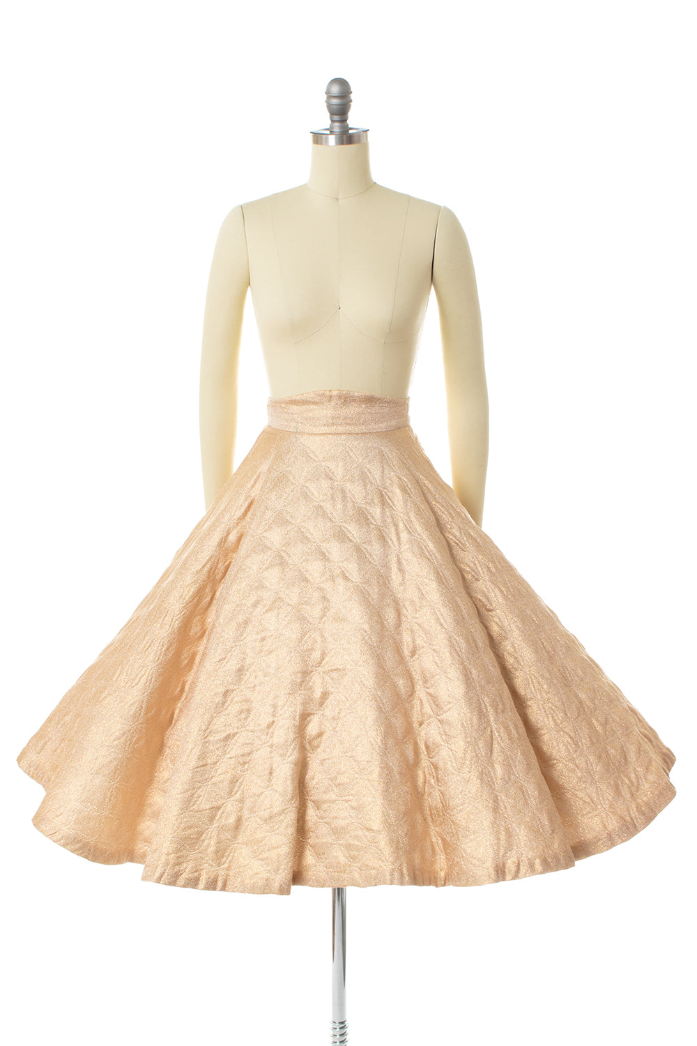 1950s Gold Lurex Quilted Circle Skirt