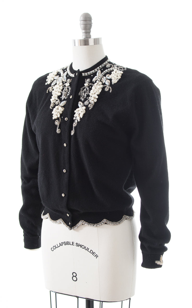1950s Dalton Beaded Knit Cashmere Cardigan
