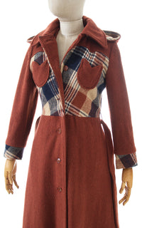 SOLD || 1970s Hooded Plaid Wool Princess Coat | x-small/small