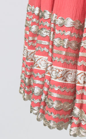 SOLD || 1950s Pink Silver Ric Rac Patio Circle Skirt | medium