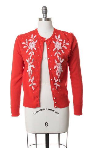 1950s Floral Beaded Red Knit Wool Cardigan