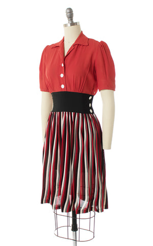 1930s 1940s Striped Rayon Shirtwaist Dress