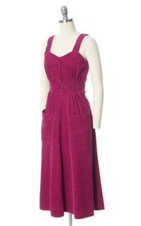 1970s Magenta Corduroy Shirtwaist Dress with Pockets