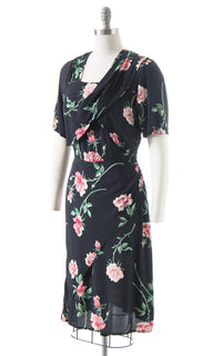 1940s Rose Rayon Crepe Cocktail Dress
