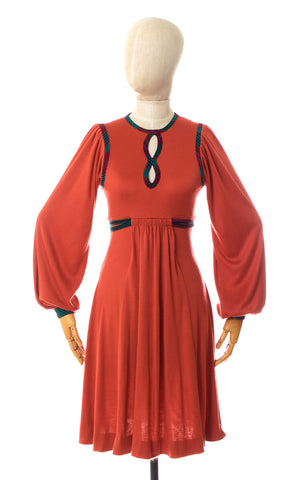 1970s Orange Jersey Bishop Sleeve Dress