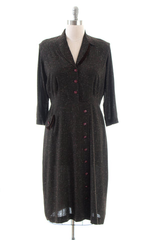 1950s Flecked Brown Shirtwaist Wiggle Dress