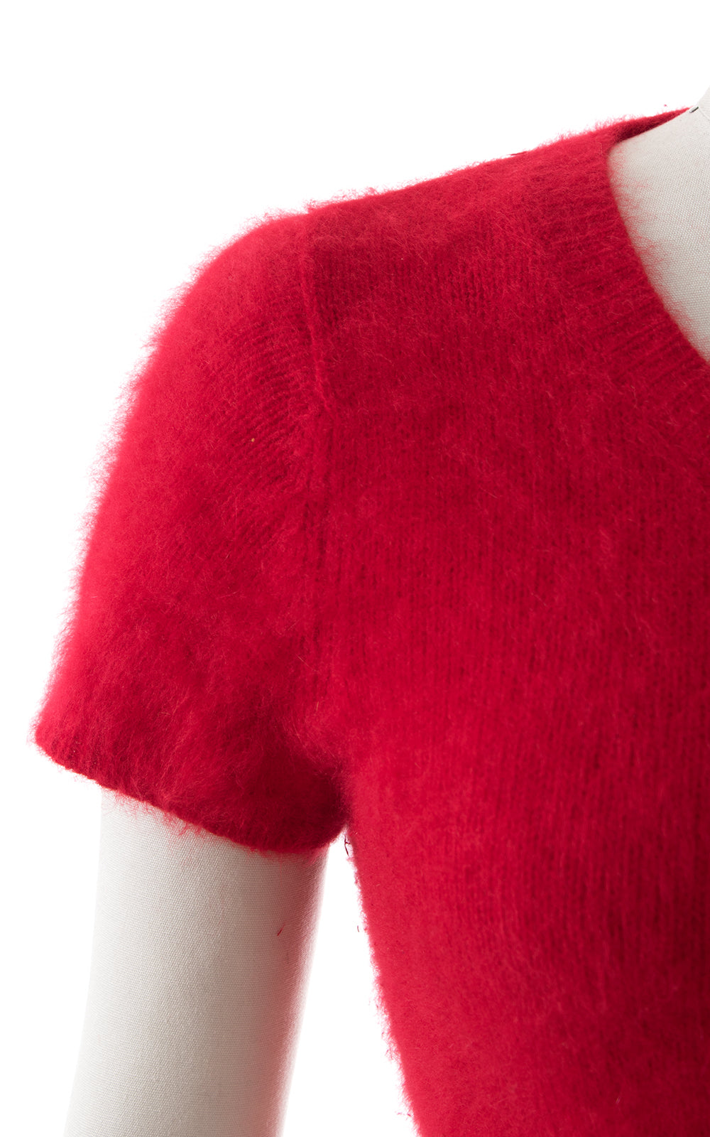 1980s Red Angora Knit Cropped Sweater
