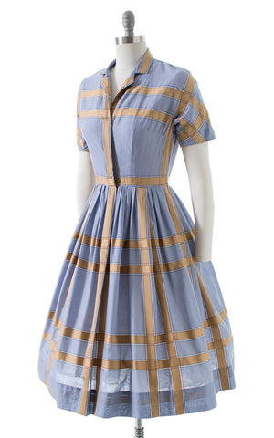 1950s Plaid Cotton Shirtwaist Dress
