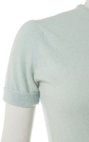 ♦ SOLD ♦ 1950s Light Blue Cashmere Sweater Top | x-small/small