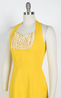 1950s Canary Yellow Linen Halter Dress with Flowers