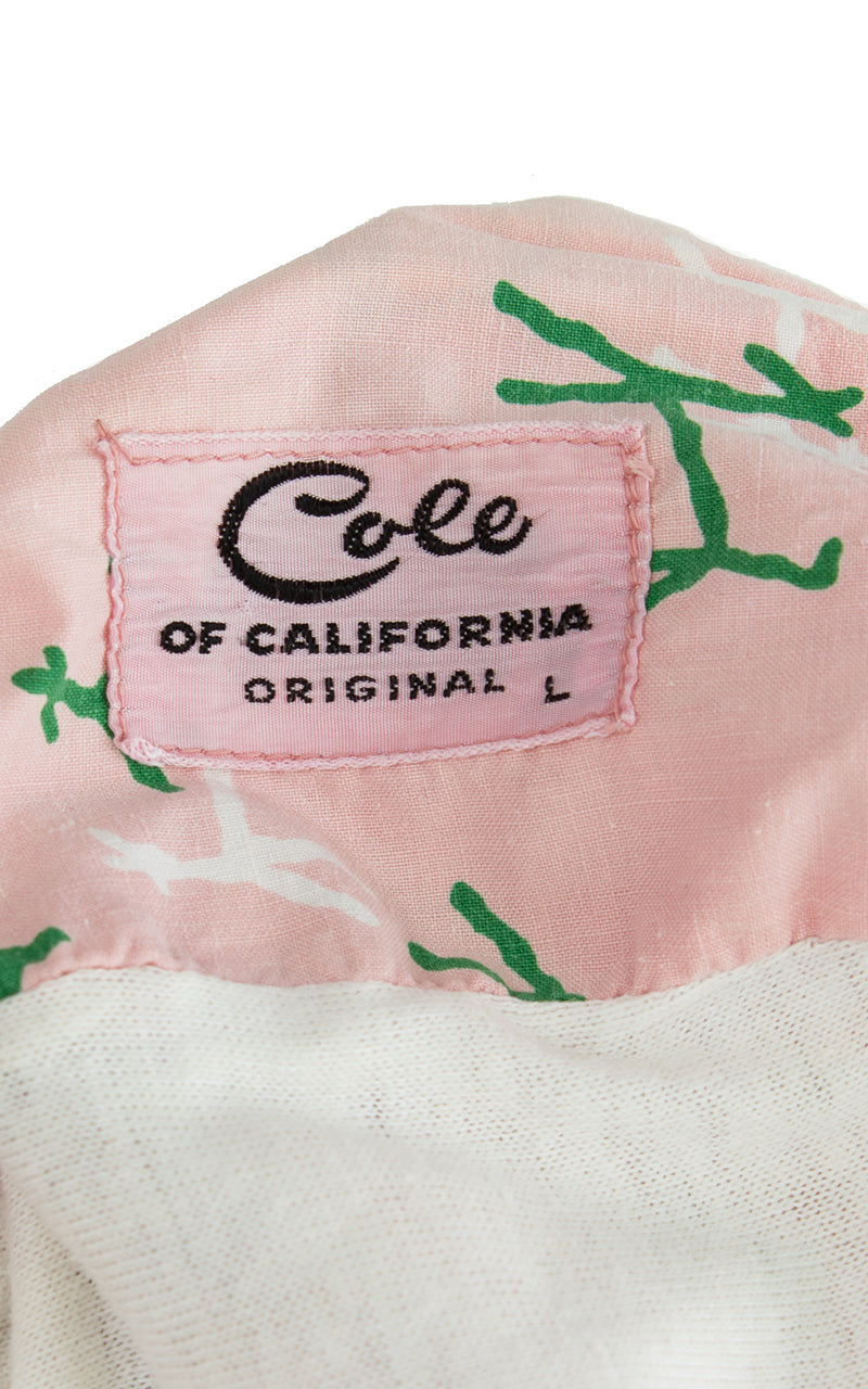 1950s Cole of California Dog Deer Novelty Print Smocked Swimsuit