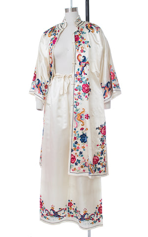 1940s Asian Bug Floral Embroidered Silk Satin Loungewear Set