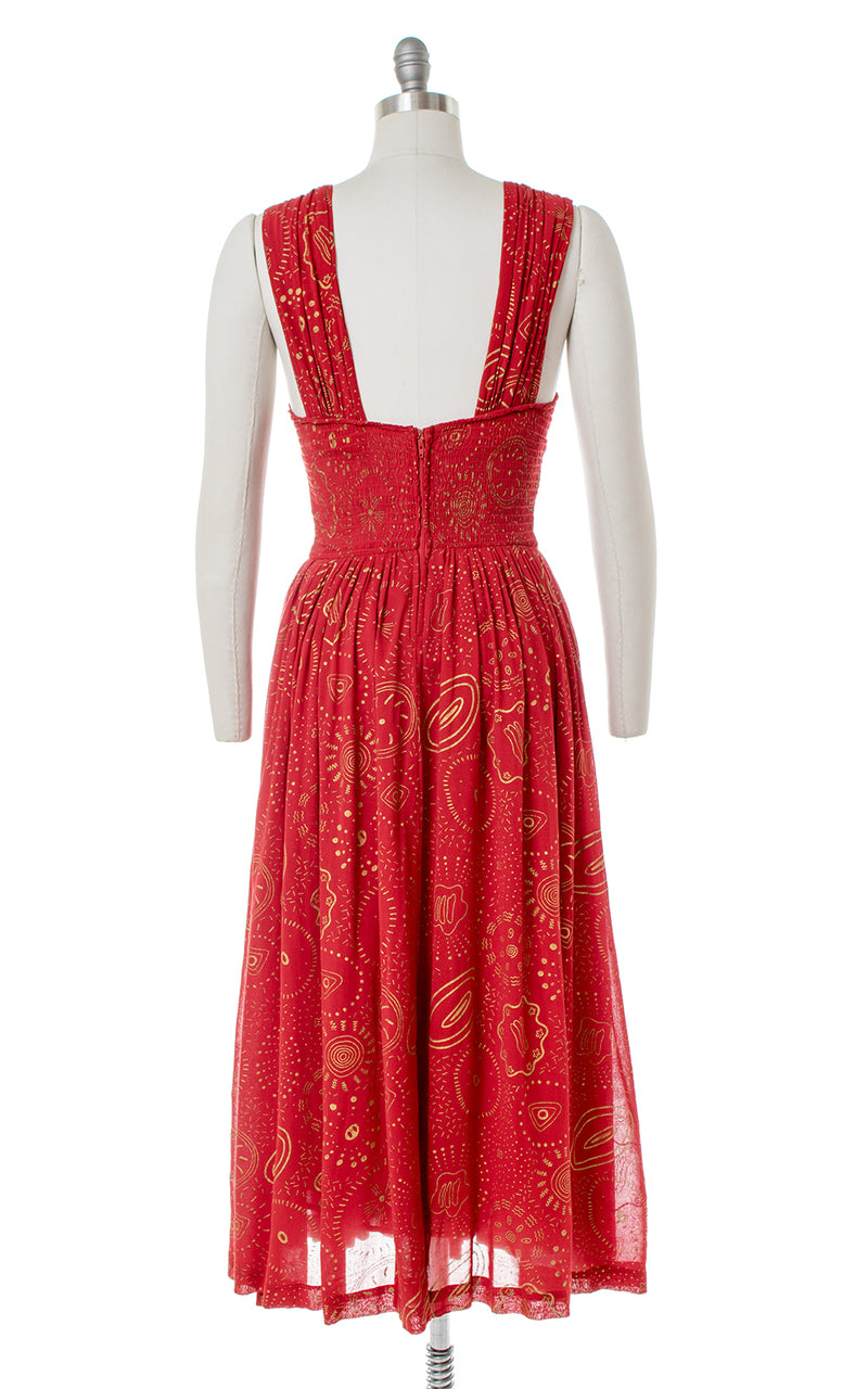 1980s Celestial Novelty Print Red Smocked Sundress