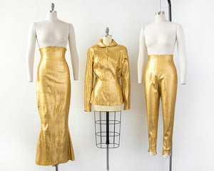 1950s Metallic Gold Lamé Three-Piece Set | small/medium