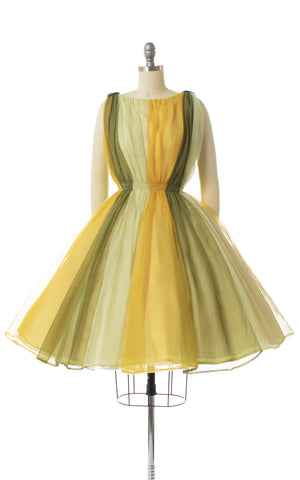 1960s Color Block Grecian Chiffon Party Dress