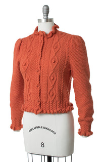 1970s Burnt Orange Knit Cardigan