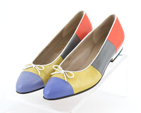 Vintage Ferragamo Color Block Leather Ballet Flats