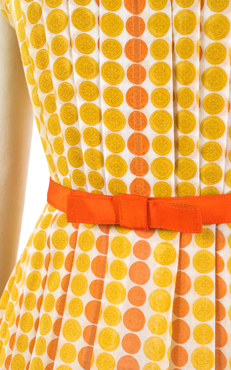 1960s Medallion Polka Dot Pleated Cotton Sundress | medium