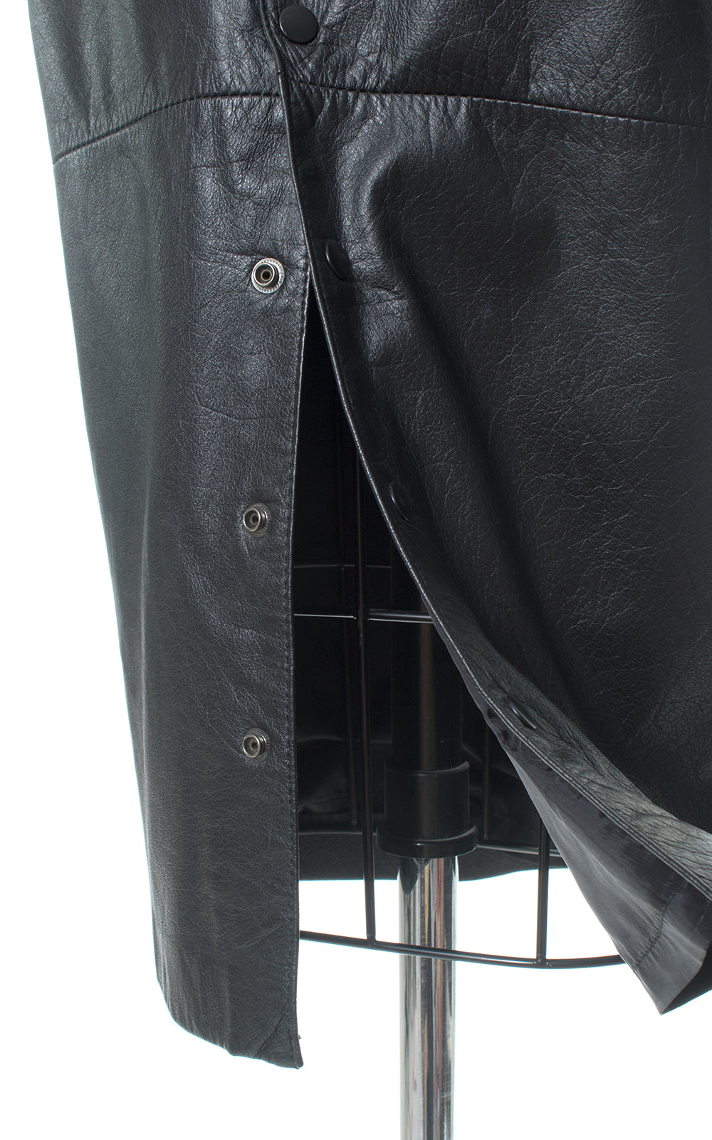 1980s Wilsons Black Leather Snap Slit Pencil Skirt