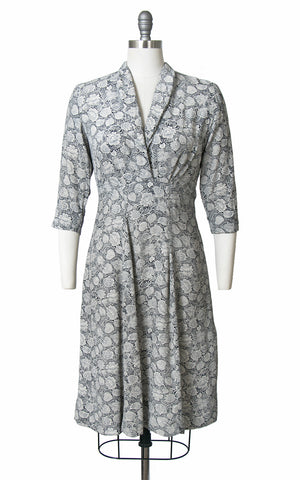 1940s Illustrated Botanical Cold Rayon Dress