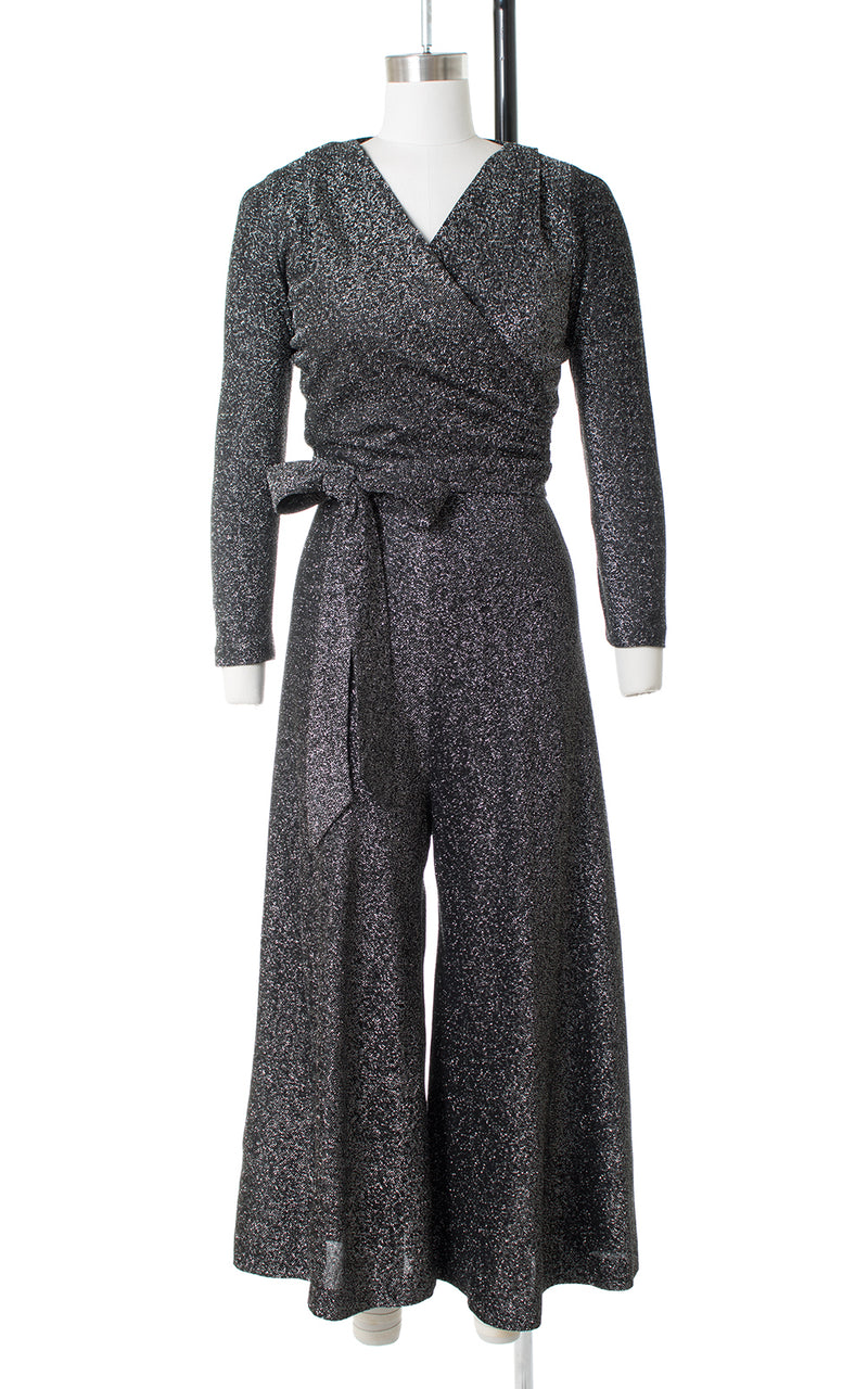 1970s Metallic Silver Lurex Wide Leg Jumpsuit