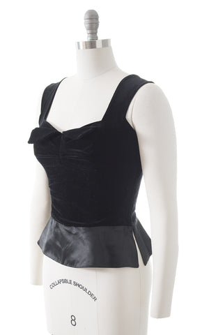 1950s Black Velvet Sweetheart Top