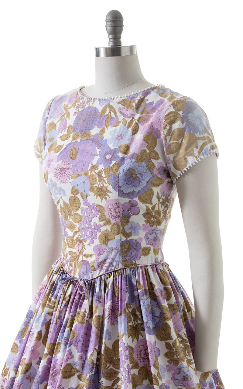 1950s Floral Cotton Drop Waist Dress