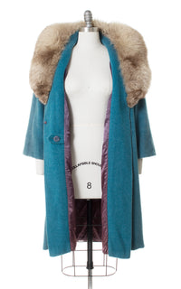 1950s Turquoise Wool & Fox Fur Collar Swing Coat