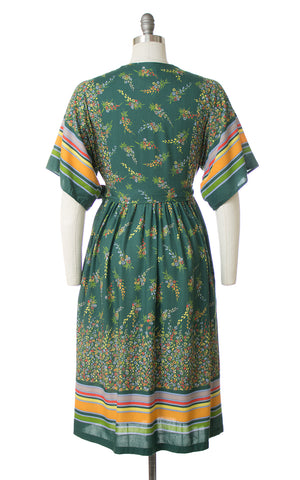1970s Floral Striped Green Rayon Wrap Dress