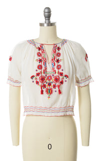 1970s Floral Embroidered Sheer Peasant Top
