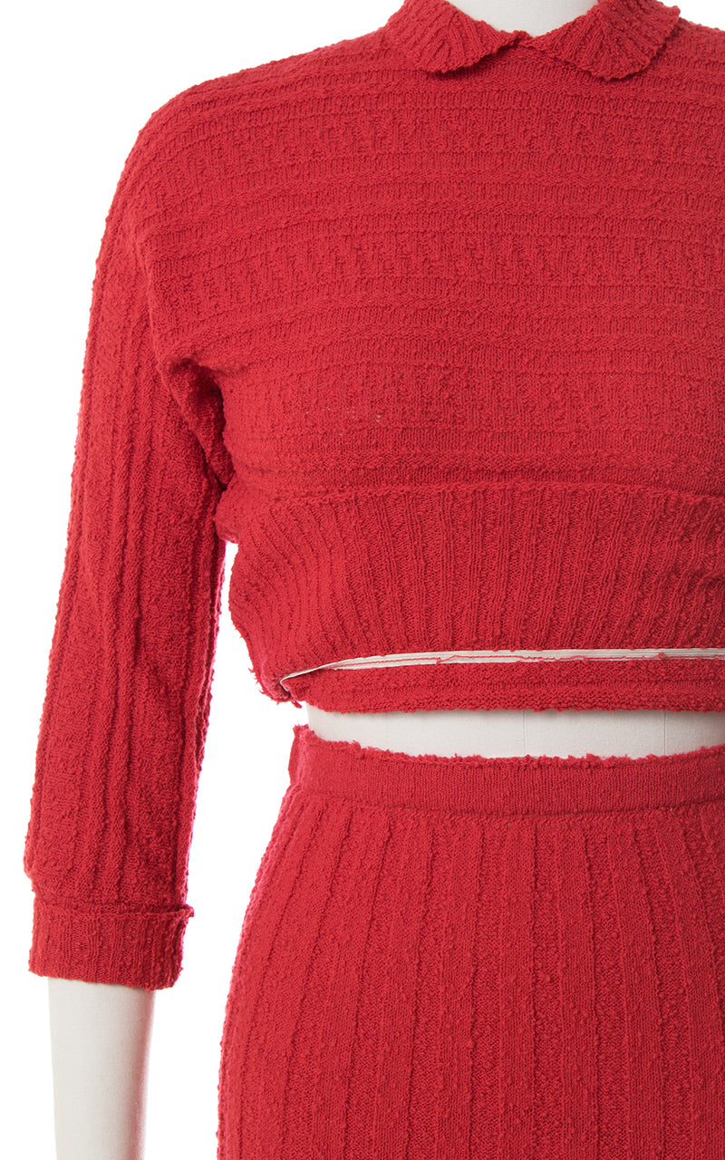 1950s Red Knit Wool Sweater + Skirt Set