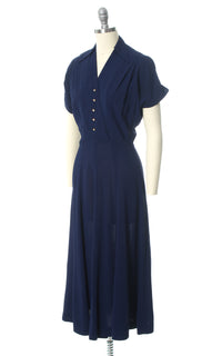 1940s Navy Blue Rayon Shirtwaist Dress with Rhinestone Buttons