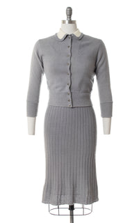 1950s Grey Wool Chenille Knit Sweater & Skirt Set