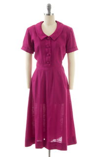 1950s Fuchsia Linen Shirtwaist Dress