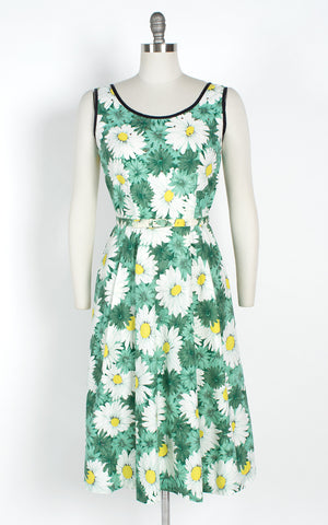 1950s Daisy Printed Cotton Sundress with Rhinestones & Pockets