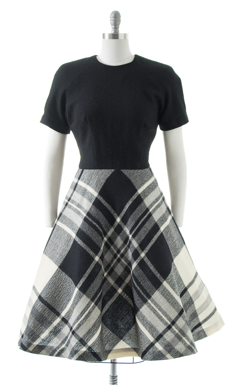 1960s Plaid Wool Dress