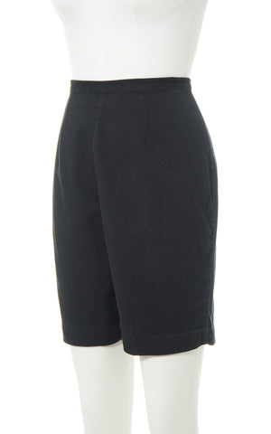 1950s Catalia Black Cotton High Waisted Shorts