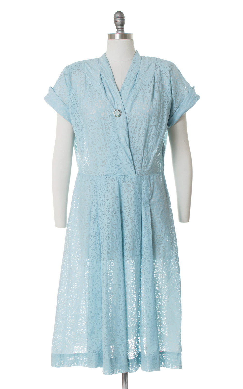 1940s Sheer Floral Filigree Burnout Dress | x-large